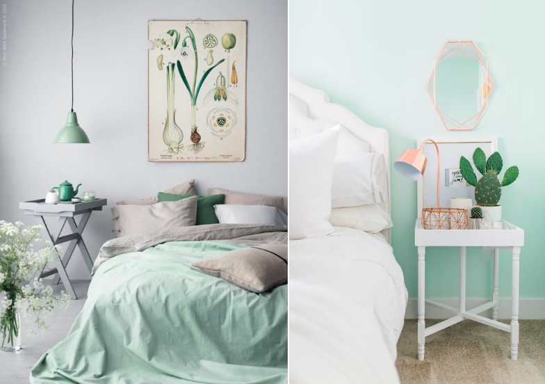 Shop the look: mintgroen in de slaapkamer