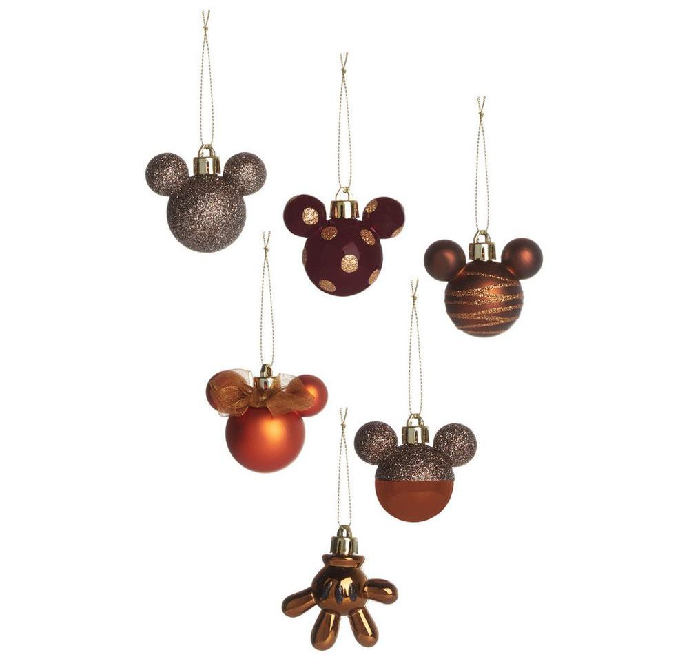 Mickey Mouse kerstballen set brons